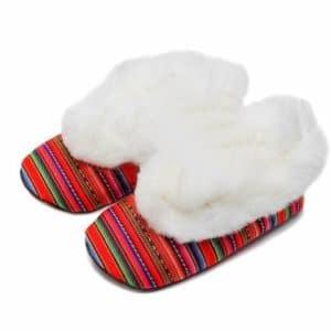 Chaussons éthniques fourrés blanc - MUNAYKI