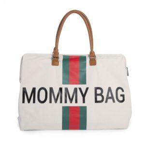 Sac à langer WEEKEND XXL Mommy Bag Big Blanc cassé rayé rouge et vert - Childhome