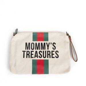 Pochette Clutch Mommy's treasures clutch Blanc cassé rayée rouge et vert - Childhome