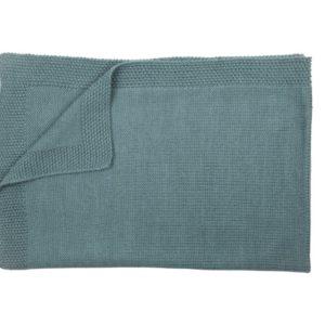 Couverture personalisée en alpaga bleu vert sapin - Mamy Factory Paris