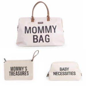 Trio Mommy bag + Pochette Mommy'treasures + Trousse de toilette Baby Necessities Blanc cassé  - Childhome