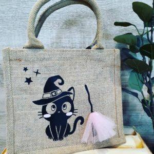 Petit sac Halloween Witch Cat personnalisé